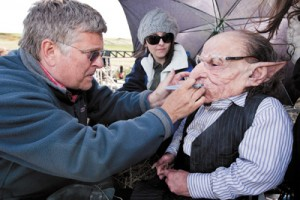 Keynote Speaker Nick Dudman and actor Warwick Davis recreating Harry Potter Goblin Makeup